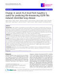 "Báo cáo y học: ""Change in serum KL-6 level from baseline is useful for predicting life-threatening EGFR-TKIs induced interstitial lung disease"""
