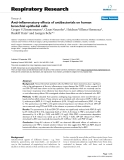"Báo cáo y học: "" Anti-inflammatory effects of antibacterials on human bronchial epithelial cells"""