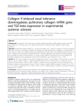 """Báo cáo y học: """"Collagen V-induced nasal tolerance downregulates pulmonary collagen mRNA gene and TGF-beta expression in experimental systemic sclerosis"""""""