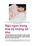 Ngủ ngon trong thai kỳ không hề khó