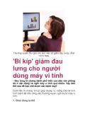 'Bí kíp' giảm đau lưng cho người dùng máy vi tính