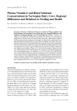 """Báo cáo khoa học: """" Plasma Vitamin E and Blood Selenium Concentrations in Norwegian Dairy Cows: Regional Differences and Relations to Feeding and Health"""""""