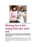 Những lưu ý khi mang thai sau sinh mổ