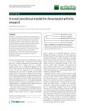 """Báo cáo y học: """"A novel preclinical model for rheumatoid arthritis research"""""""