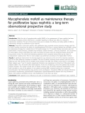 """Báo cáo y học: """"Mycophenolate mofetil as maintenance therapy for proliferative lupus nephritis: a long-term observational prospective study"""""""