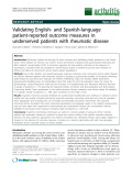 "Báo cáo y học: ""Validating English- and Spanish-language patient-reported outcome measures in underserved patients with rheumatic disease"""