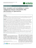 """Báo cáo y học: """"Bone resorption and remodeling in murine collagenase-induced osteoarthritis after administration of glucosamine"""""""