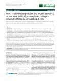 "Báo cáo y học: "" Anti-T cell immunoglobulin and mucin domain-2 monoclonal antibody exacerbates collageninduced arthritis by stimulating B cels"""