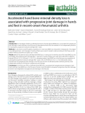"""Báo cáo y học: """"Accelerated hand bone mineral density loss is associated with progressive joint damage in hands and feet in recent-onset rheumatoid arthritis"""""""