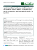 """Báo cáo y học: """"Cytokine profile of autologous conditioned serum for treatment of osteoarthritis, in vitro effects on cartilage metabolism and intra-articular levels after injection"""""""