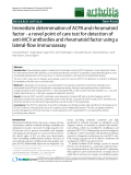 "Báo cáo y học: ""Immediate determination of ACPA and rheumatoid factor - a novel point of care test for detection of anti-MCV antibodies and rheumatoid factor using a lateral-flow immunoassay"""