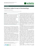 "Báo cáo y học: ""Remission makes its way to rheumatology"""
