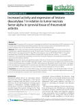 """Báo cáo y học: """"Increased activity and expression of histone deacetylase 1 in relation to tumor necrosis factor-alpha in synovial tissue of rheumatoid arthritis"""""""