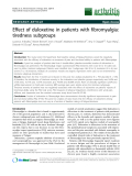 "Báo cáo y học: ""Effect of duloxetine in patients with fibromyalgia: tiredness subgroups"""