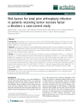 "Báo cáo y học: ""Risk factors for total joint arthroplasty infection in patients receiving tumor necrosis factor a-blockers: a case-control study"""