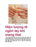 Hiện tượng tê ngón tay khi mang thai