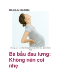 Bà bầu đau lưng: Không nên coi nhẹ