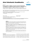 """Báo cáo khoa học: """"Proton nuclear magnetic resonance spectroscopy based investigation on propylene glycol toxicosis in a Holstein cow"""""""
