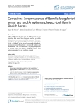 "Báo cáo khoa học: ""Correction: Seroprevalence of Borrelia burgdorferi sensu lato and Anaplasma phagocytophilum in Danish horses"""