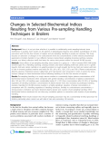 """Báo cáo khoa học: """"Changes in Selected Biochemical Indices Resulting from Various Pre-sampling Handling Techniques in Broilers"""""""