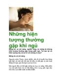 Những hiện tượng thường gặp khi ngủ