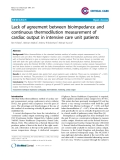 """Báo cáo y học: """" Lack of agreement between bioimpedance and continuous thermodilution measurement of cardiac output in intensive care unit patient"""""""