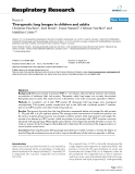 """Báo cáo y học: """"  Therapeutic lung lavages in children and adults"""""""