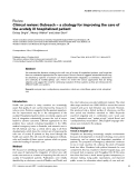 """Báo cáo khoa học: """"Clinical review: Outreach — a strategy for improving the care of the acutely ill hospitalized patient"""""""