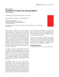 "Báo cáo khoa học: ""Handbook of Critical Care, Revised Edition"""