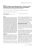 """Báo cáo khoa học: """" Bench-to-bedside review: Weaning failure – should we rest the respiratory muscles with controlled mechanical ventilation"""""""