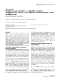 """Báo cáo khoa học: """"Rapid molecular detection of methicillin-resistant Staphylococcus aureus: a cost-effective tool for infection control in critical care"""""""