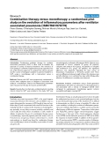 "Báo cáo y học: ""Combination therapy versus monotherapy: a randomised pilot study on the evolution of inflammatory parameters after ventilator associated pneumonia [ISRCTN31976779]"""