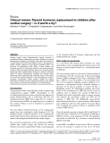 "Bóa cáo y học: ""Clinical review: Thyroid hormone replacement in children after cardiac surgery – is it worth a try"""