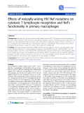 """Báo cáo y học: """"Effects of naturally-arising HIV Nef mutations on cytotoxic T lymphocyte recognition and Nef's functionality in primary macrophage"""""""