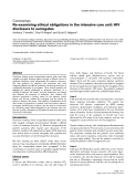 """Báo cáo khoa học: """"Re-examining ethical obligations in the intensive care unit: HIV disclosure to surrogates"""""""