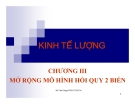 SLIDE - KINH TẾ LƯỢNG CHƯƠNG III: MỞ RỘNG MÔ HÌNH HỒI QUY 2 BIẾN