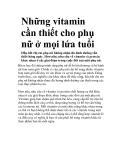 Những vitamin cần thiết cho phụ nữ ở mọi lứa tuổi