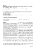 """Báo cáo y học: """"Clinical review: Prognostic value of magnetic resonance imaging in acute brain injury and coma"""""""