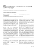 """Báo cáo y học: """"Evidence-based approach to intensive care unit management: need for improvement"""""""