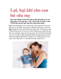Lợi, hại khi cho con bú sữa mẹ