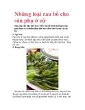 Những loại rau bổ cho sản phụ ở cữ