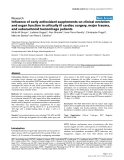 """Báo cáo y học: """" influence of early antioxidant supplements on clinical evolution and organ function in critically ill cardiac surgery, major trauma, and subarachnoid hemorrhage patients"""""""