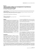 """Báo cáo y học: """"Clinical review: Critical care management of spontaneous intracerebral hemorrhage"""""""