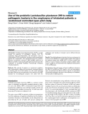 "Báo cáo y học: ""Use of the probiotic Lactobacillus plantarum 299 to reduce pathogenic bacteria in the oropharynx of intubated patients: a randomised controlled open pilot study"""