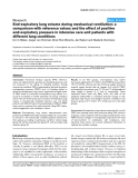 """Báo cáo y học: """"a comparison with reference values and the effect of positive end-expiratory pressure in intensive care unit patients with different lung condition"""""""