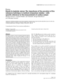"""Báo cáo y học: """"Bench-to-bedside review: The importance of the precision of the reference technique in method comparison studies – with specific reference to the measurement of cardiac output"""""""