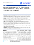 """Báo cáo y học: """"The health related quality of life of people living with HIV/AIDS in sub-Saharan Africa - a literature review and focus group study"""""""
