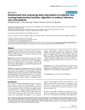 """Báo cáo y học: """"Randomized trial comparing daily interruption of sedation and nursing-implemented sedation algorithm in medical intensive care unit patients"""""""