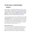 Gỡ bỏ Windows 8 khỏi hệ thống dualboot