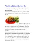 Văn hóa nghệ thuật ẩm thực Huế